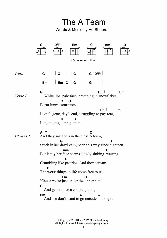A Team Chords The A Team Ed Sheeran Guitar Chordslyrics Guitar Instructor