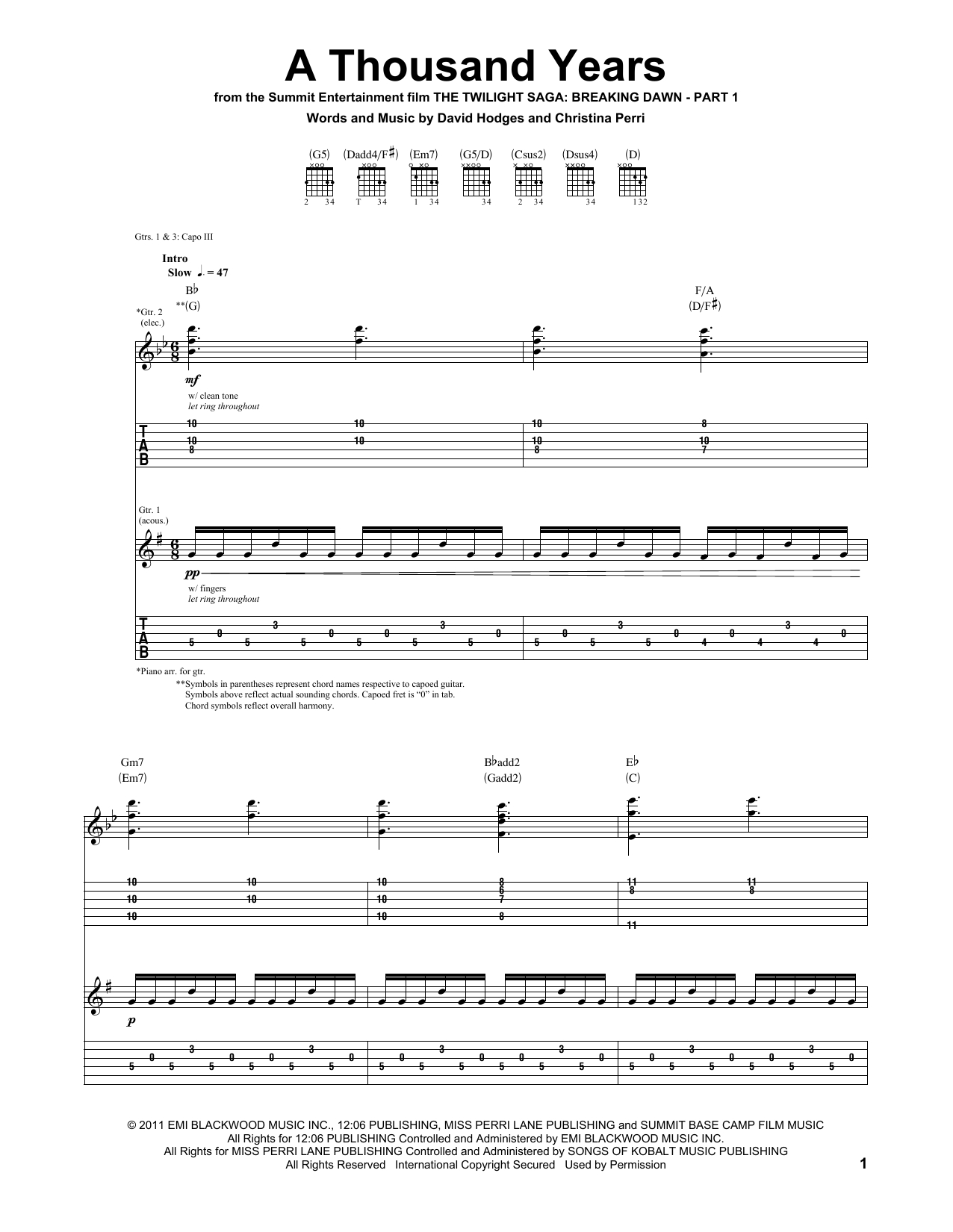 A Thousand Years Chords A Thousand Years Christina Perri Guitar Tab Guitar Instructor