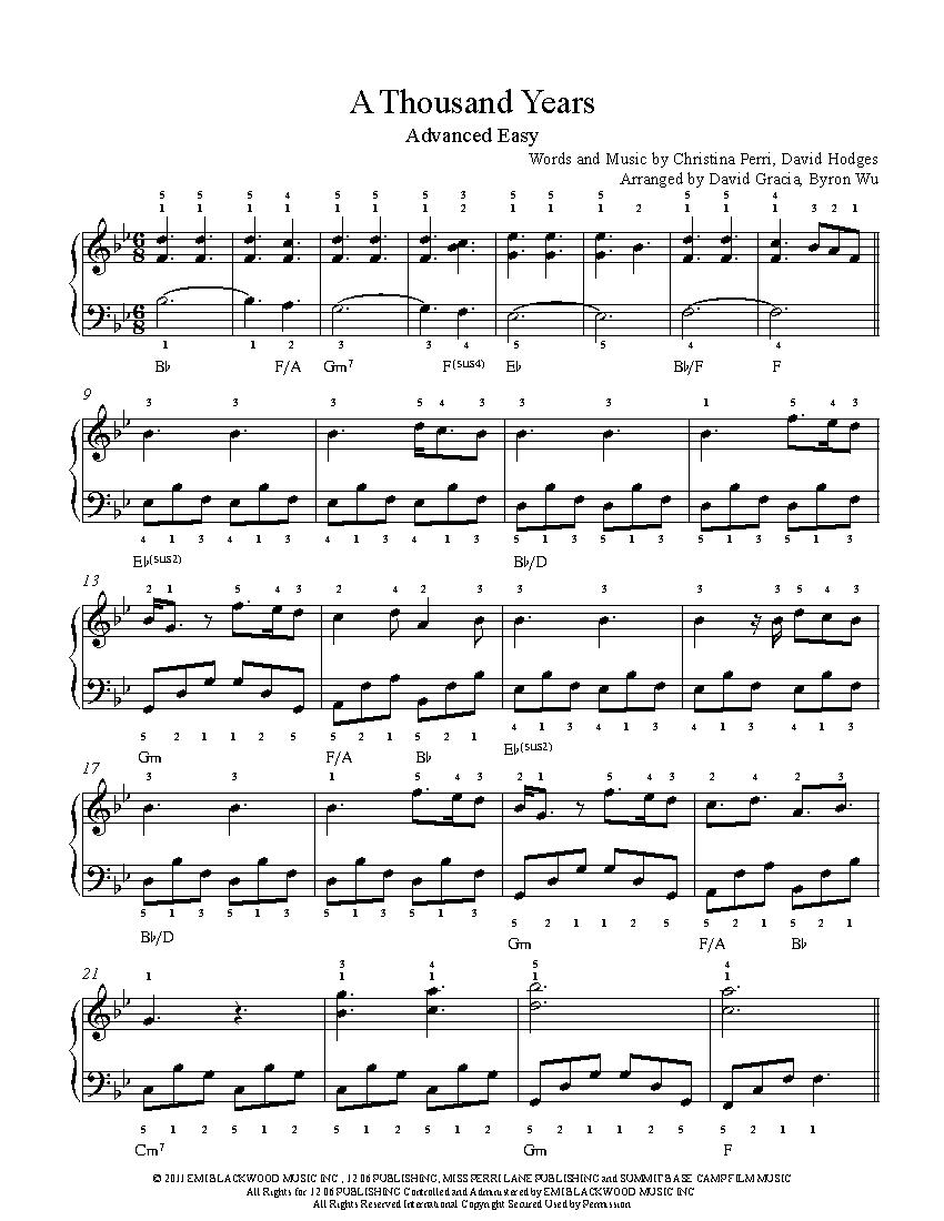 A Thousand Years Chords A Thousand Years Christina Perri Piano Sheet Music Advanced Level