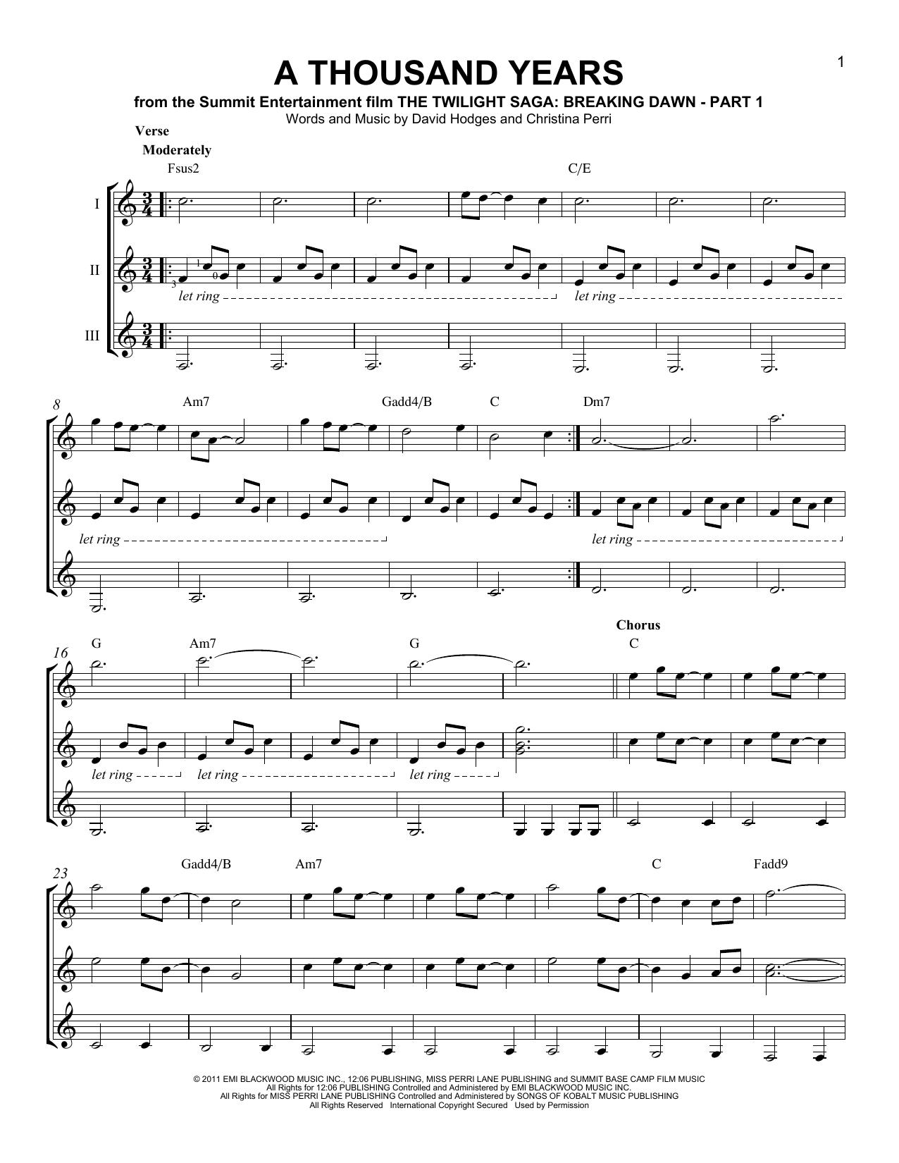 A Thousand Years Chords Christina Perri A Thousand Years Sheet Music Notes Chords Download Printable Guitar Ensemble Sku 165629