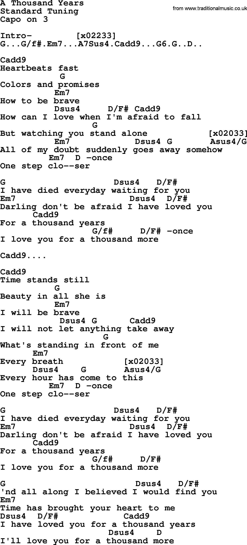 A Thousand Years Chords Kris Kristofferson Song A Thousand Years Lyrics And Chords