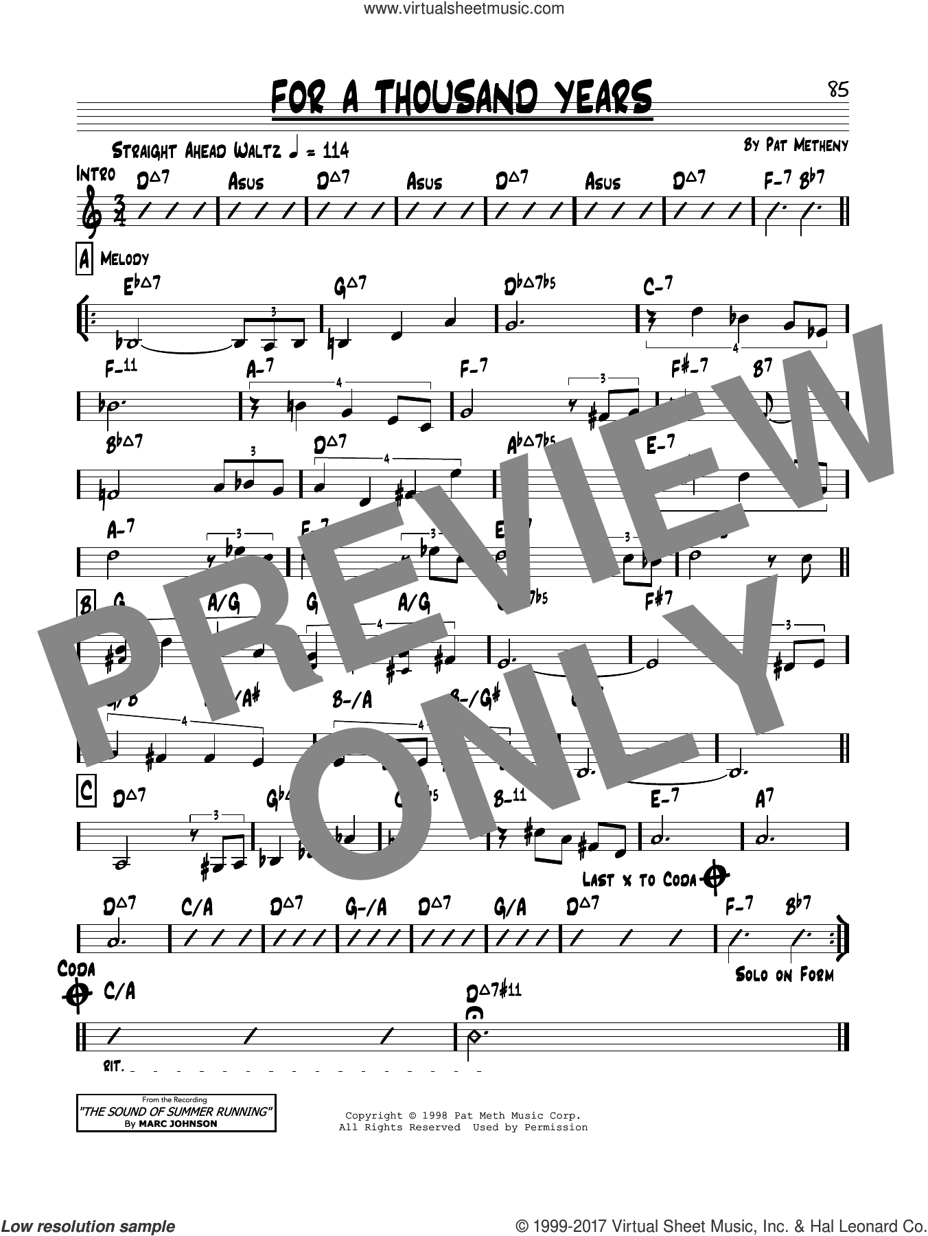A Thousand Years Chords Metheny For A Thousand Years Sheet Music Real Book Melody And Chords Real Book