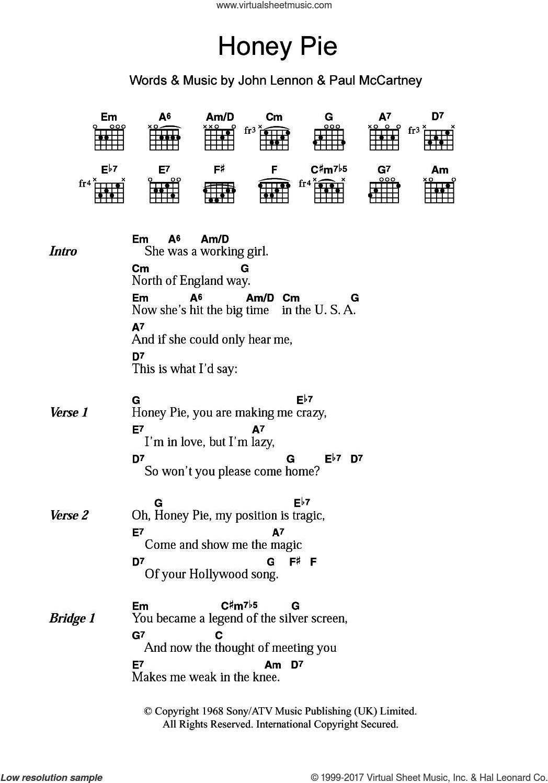 Across The Universe Chords Beatles Honey Pie Sheet Music For Guitar Chords Pdf