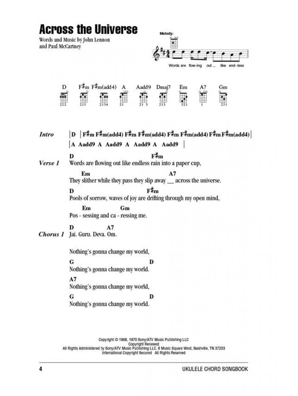 Across The Universe Chords Beatles Ukulele Chord Songbook