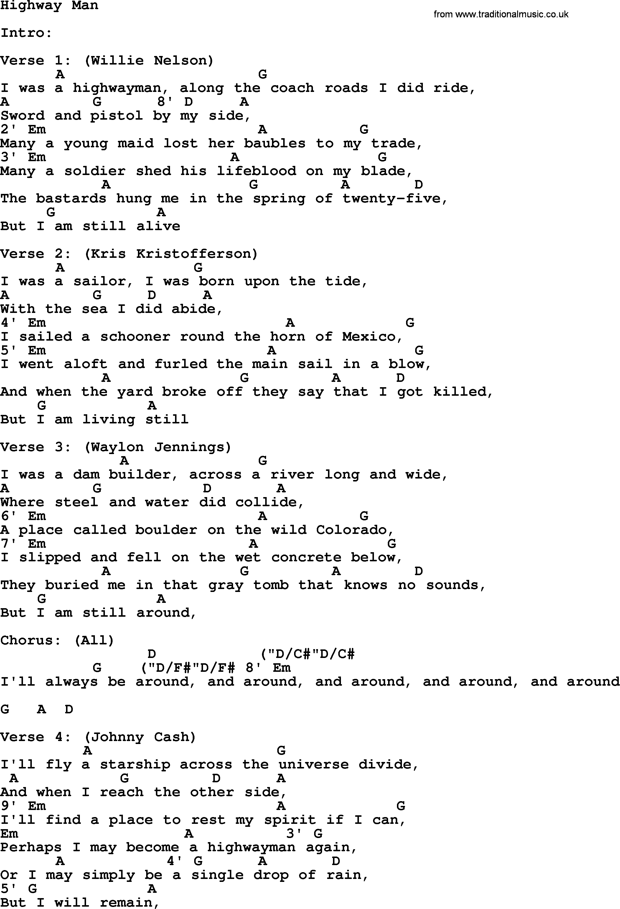 Across The Universe Chords Johnny Cash Song Highway Man Lyrics And Chords
