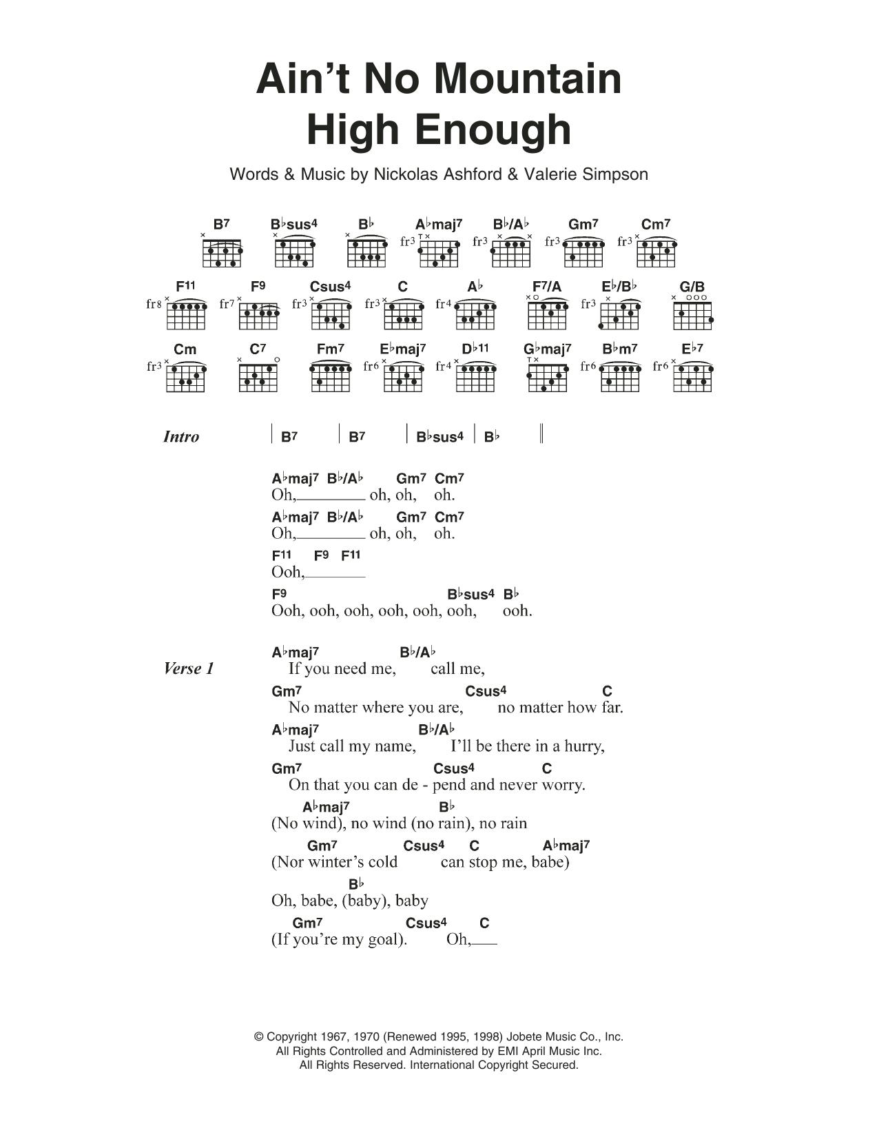 Ain T No Sunshine Chords Aint No Mountain High Enough Diana Ross Piano Vocal Guitar Right Hand Melody Digital Sheet Music