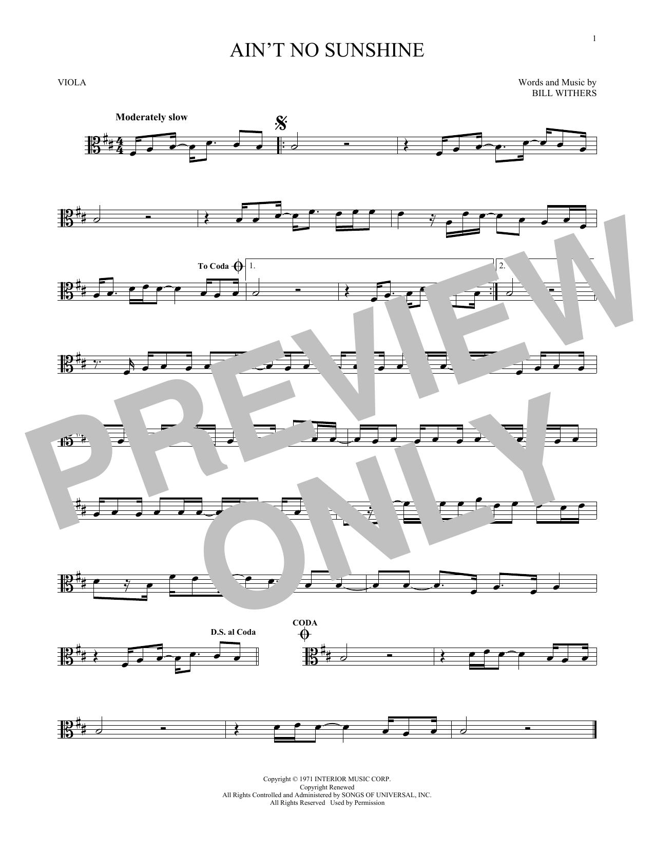 Ain T No Sunshine Chords Aint No Sunshine Bill Withers Hal Leonard Prima Music