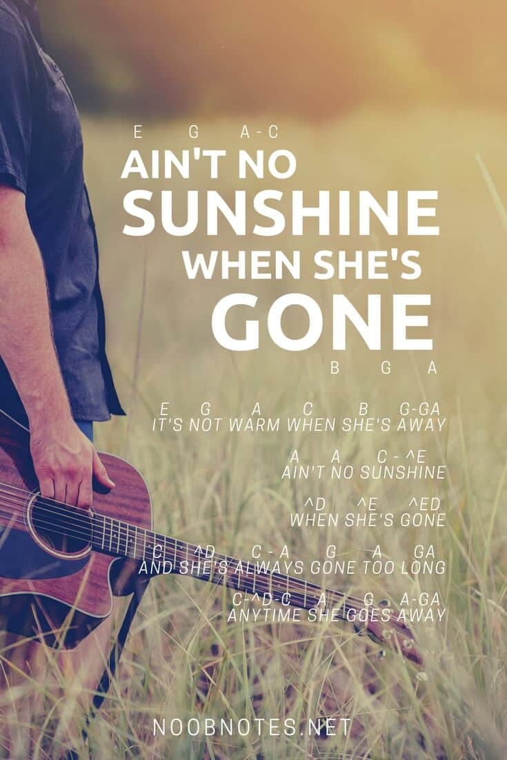 Ain T No Sunshine Chords Aint No Sunshine Bill Withers Letter Notes For Beginners Music