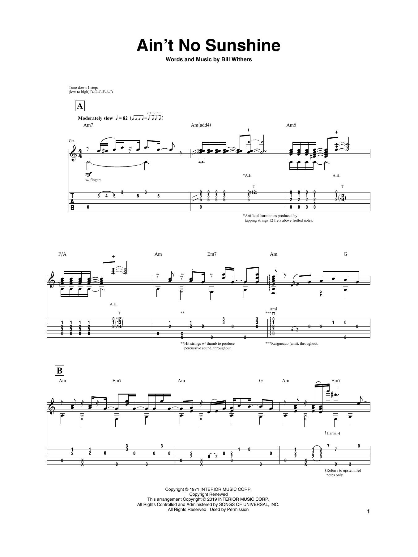 Ain T No Sunshine Chords Aint No Sunshine Igor Presnyakov Guitar Tab Guitar Instructor