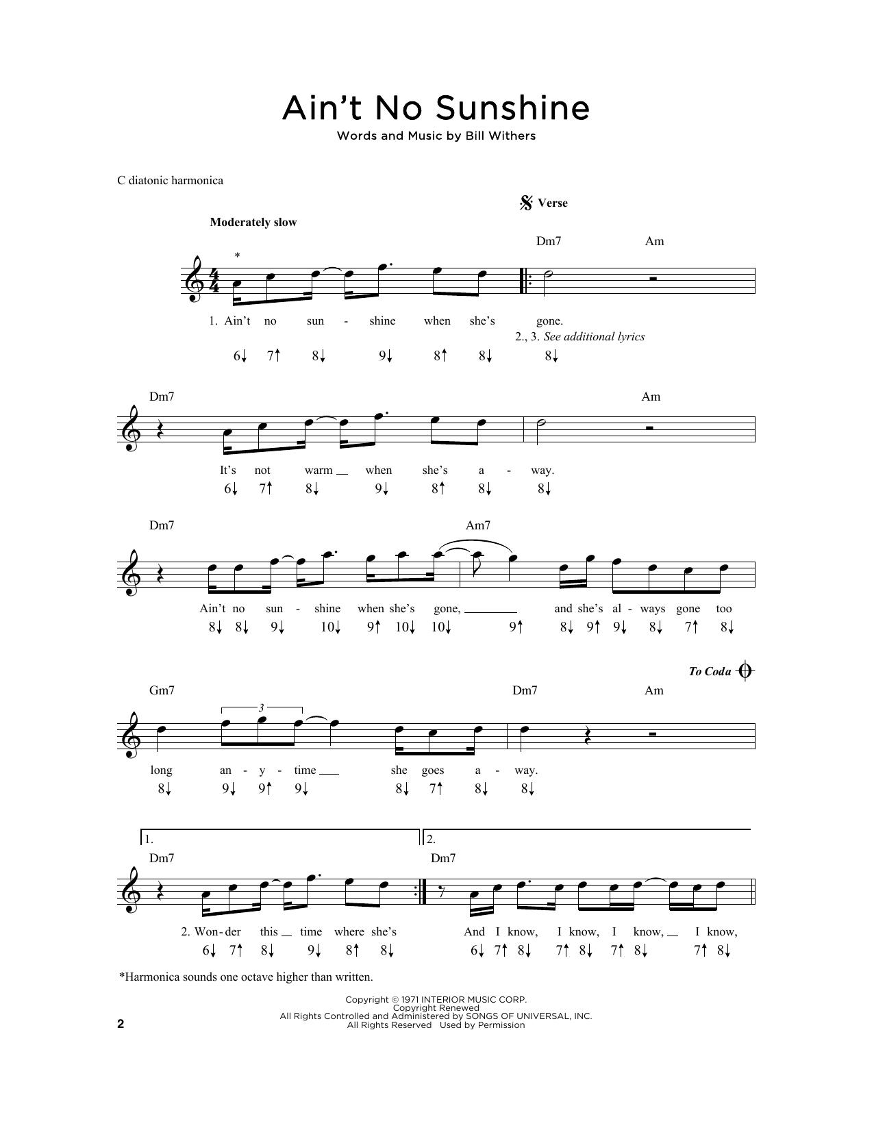 Ain T No Sunshine Chords Aint No Sunshine Sheet Music Bill Withers Harmonica