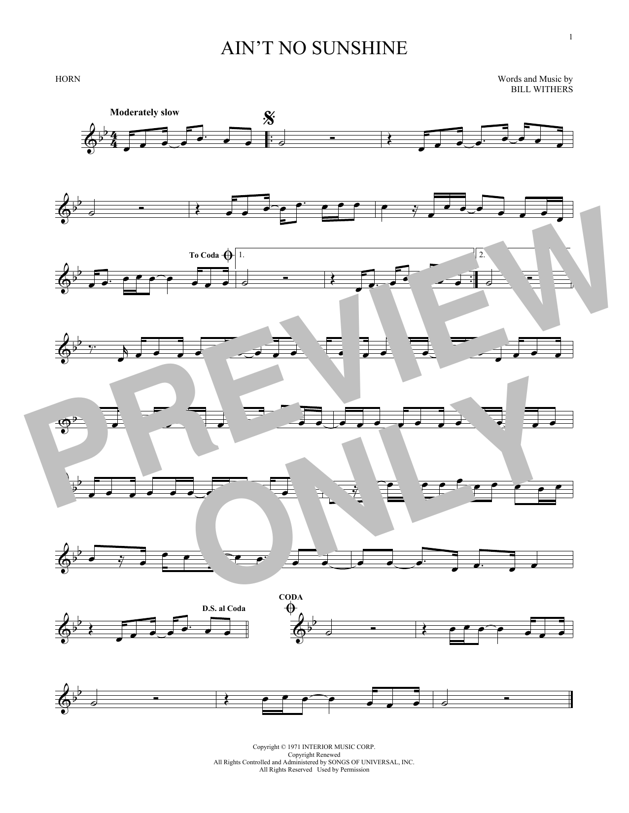 Ain T No Sunshine Chords Sheet Music Digital Files To Print Licensed Bill Withers Digital