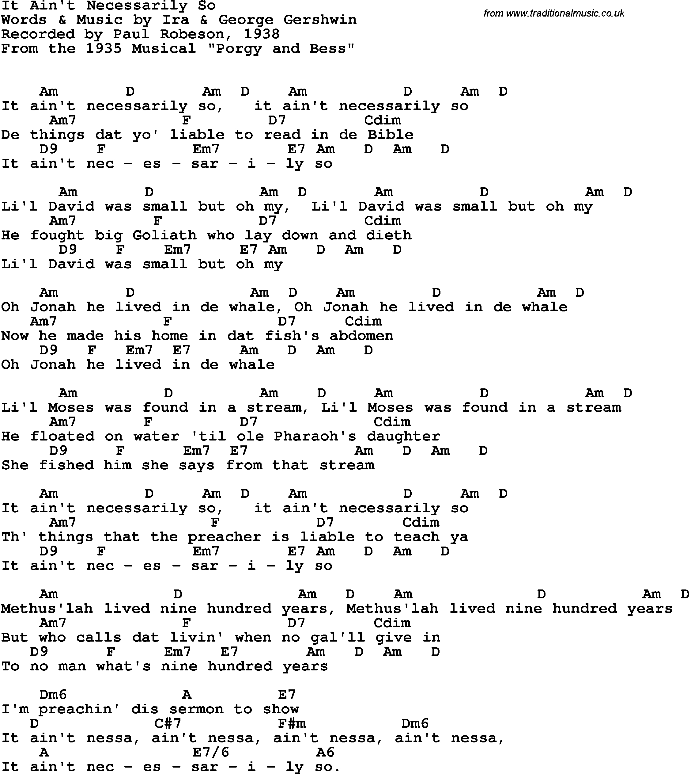 Ain T No Sunshine Chords Song Lyrics With Guitar Chords For It Aint Necessarily So Paul