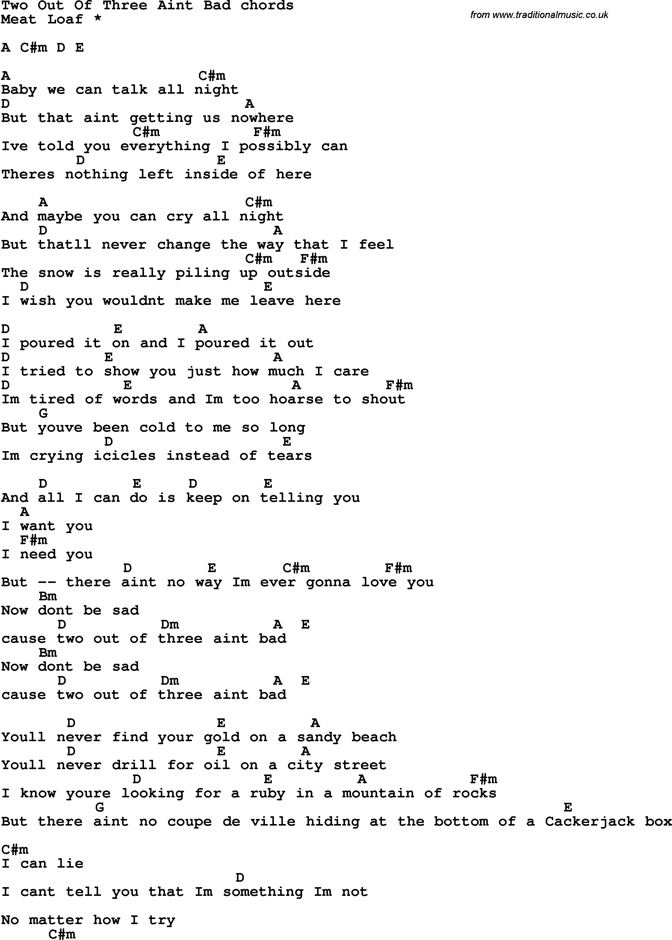Ain T No Sunshine Chords Song Lyrics With Guitar Chords For Two Out Of Three Aint Bad