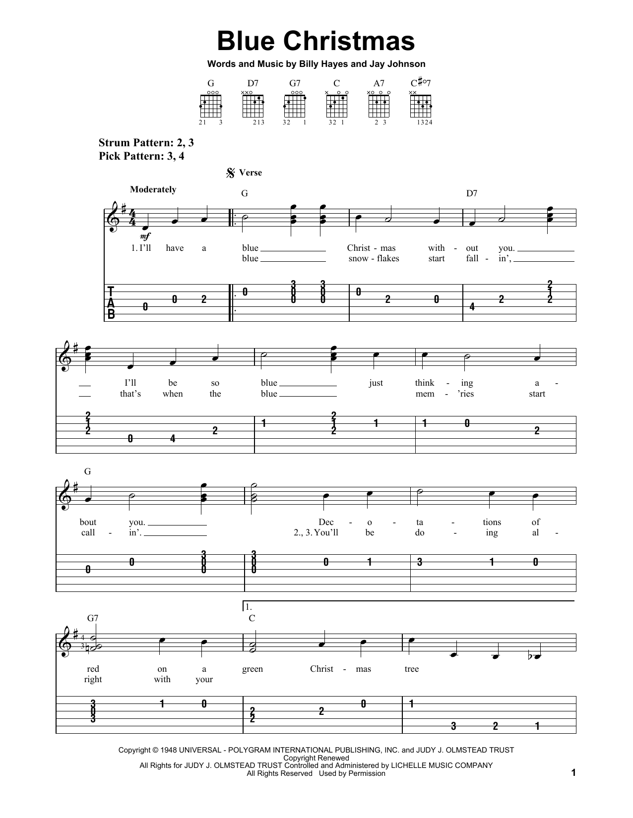 Blue Christmas Chords Blue Christmas Elvis Presley Easy Guitar Tab Guitar Instructor
