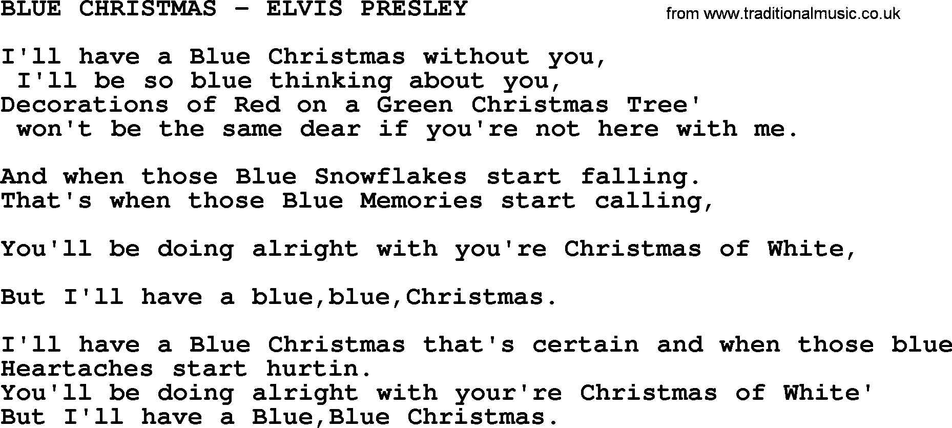 Blue Christmas Chords Blue Christmas Elvis Presley Txt Elvis Presley Lyrics And Chords