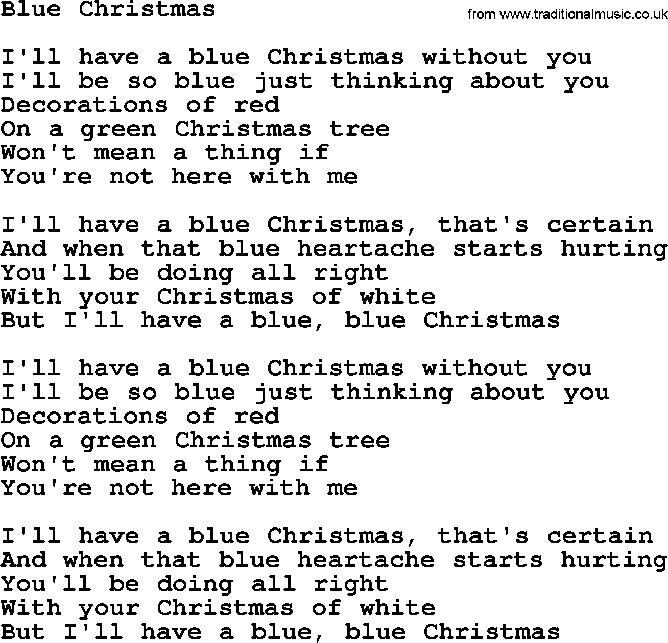 Blue Christmas Chords Bruce Springsteen Song Blue Christmas Lyrics