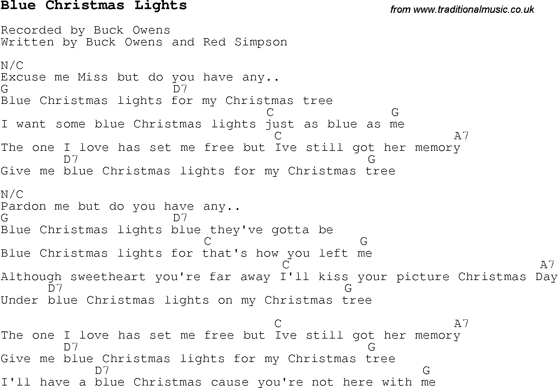 Blue Christmas Chords Christmas Carolsong Lyrics With Chords For Blue Christmas Lights