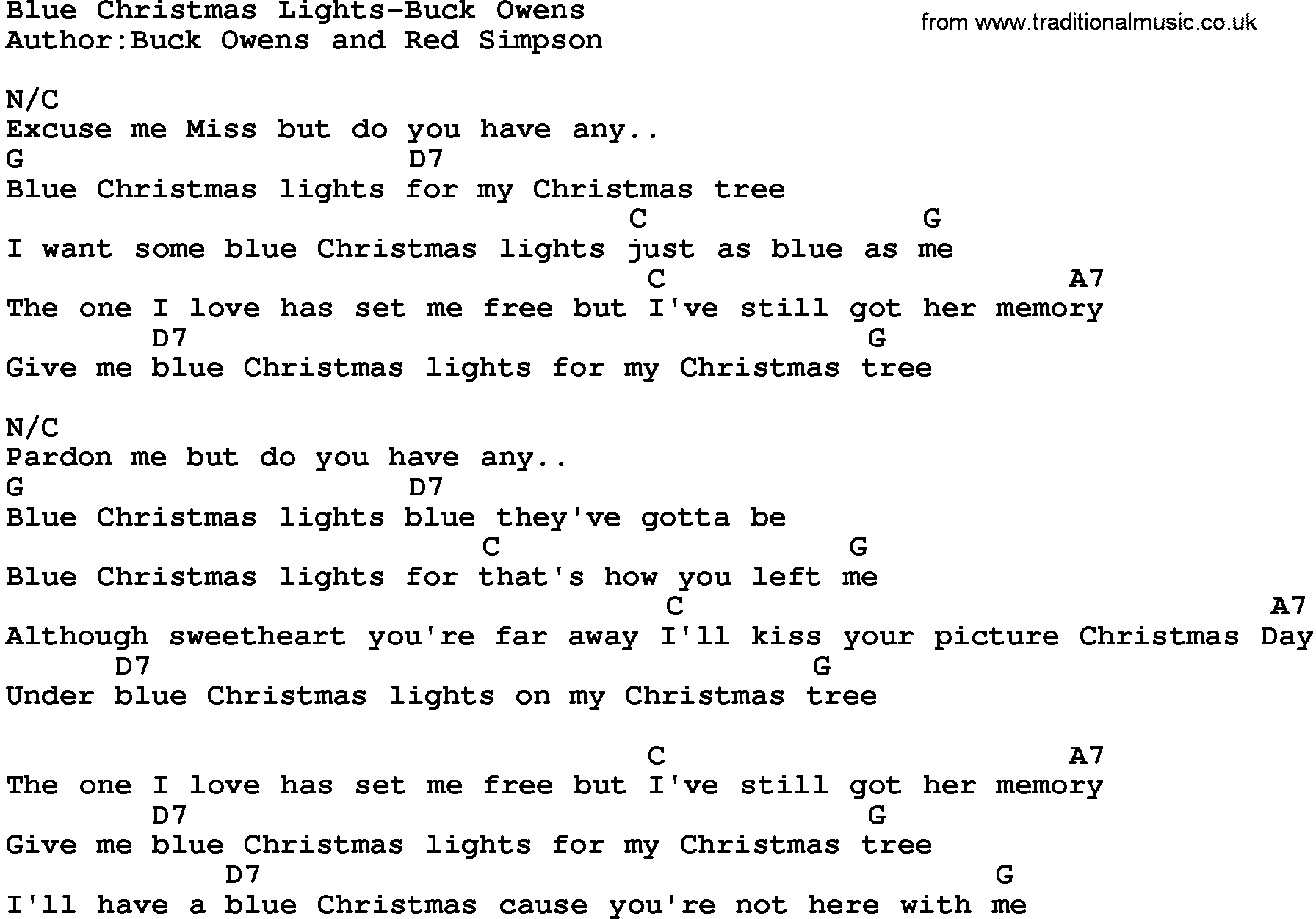 Blue Christmas Chords Country Musicblue Christmas Lights Buck Owens Lyrics And Chords