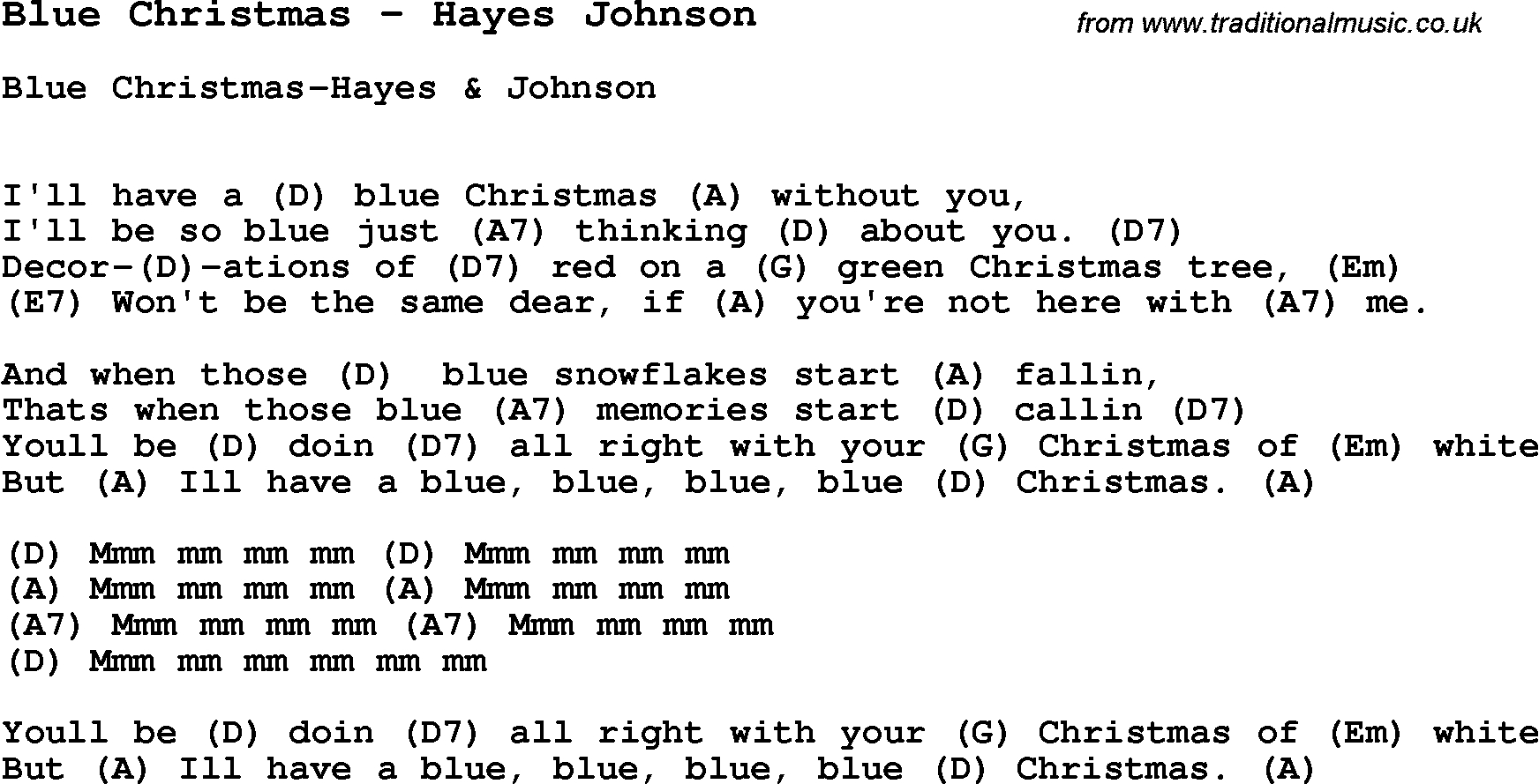 Blue Christmas Chords Song Blue Christmas Hayes Johnson Song Lyric For Vocal