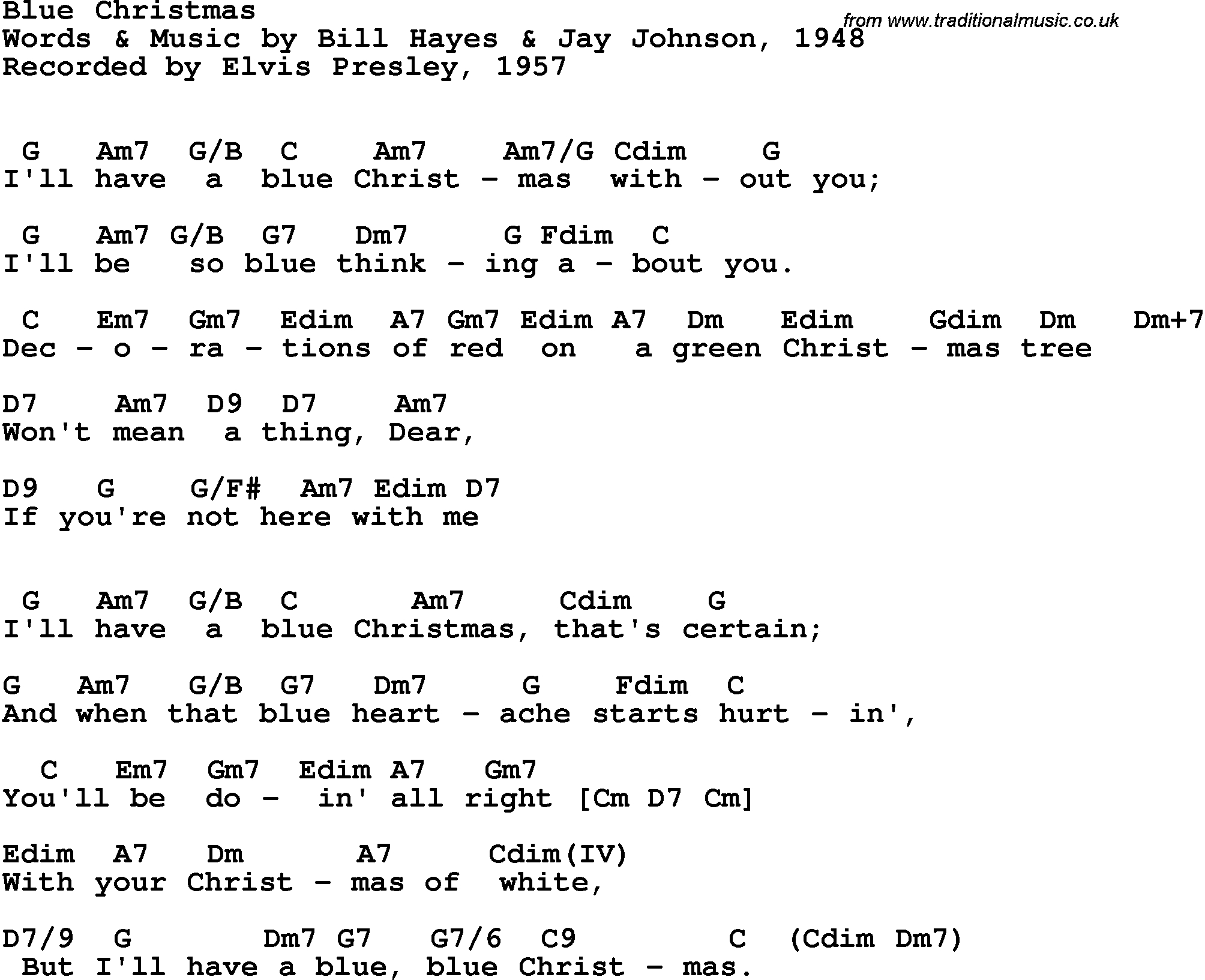 Blue Christmas Chords Song Lyrics With Guitar Chords For Blue Christmas Elvis Presley 1957