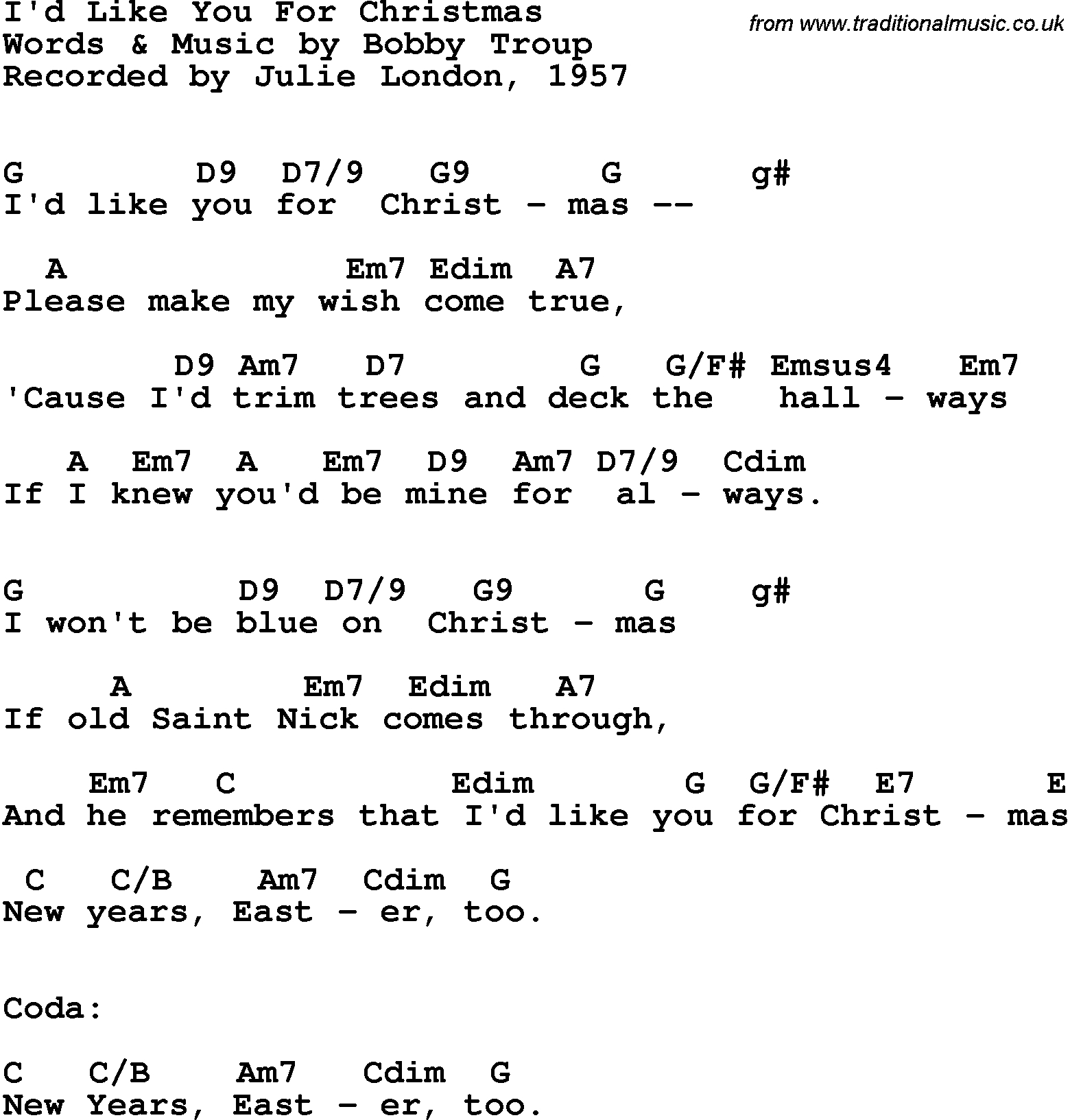 Blue Christmas Chords Song Lyrics With Guitar Chords For Id Like You For Christmas