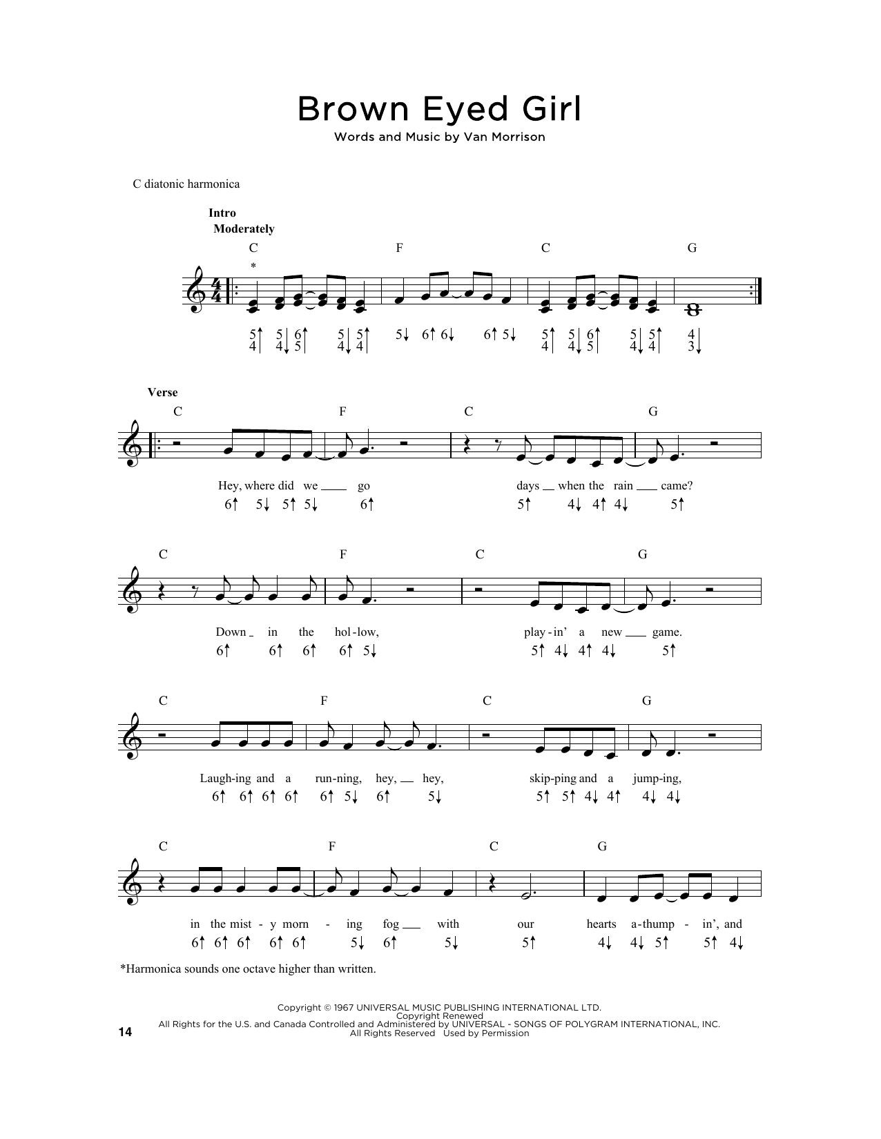 Brown Eyed Girl Chords Brown Eyed Girl Sheet Music Van Morrison Harmonica