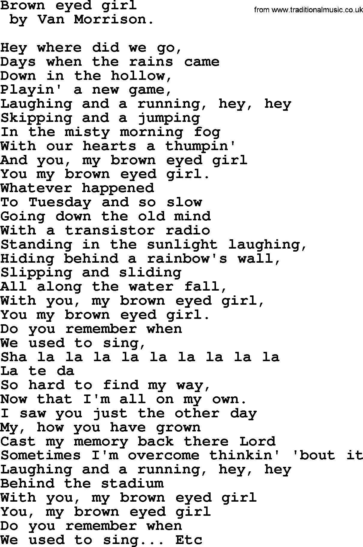 Brown Eyed Girl Chords Bruce Springsteen Song Brown Eyed Girl Lyrics