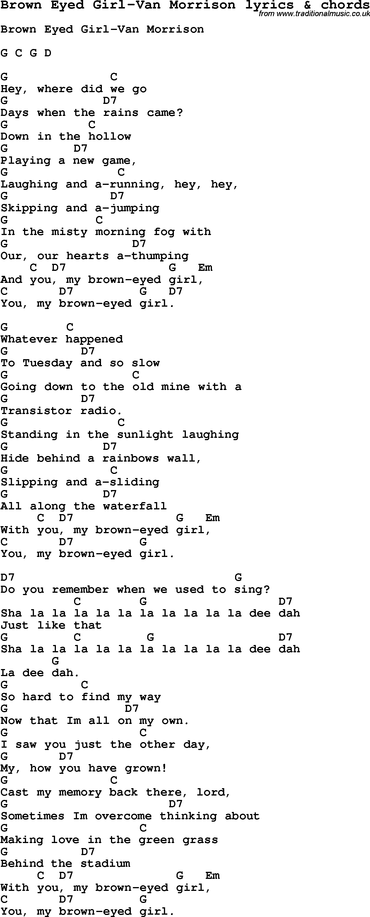 Brown Eyed Girl Chords Love Song Lyrics Forbrown Eyed Girl Van Morrison With Chords