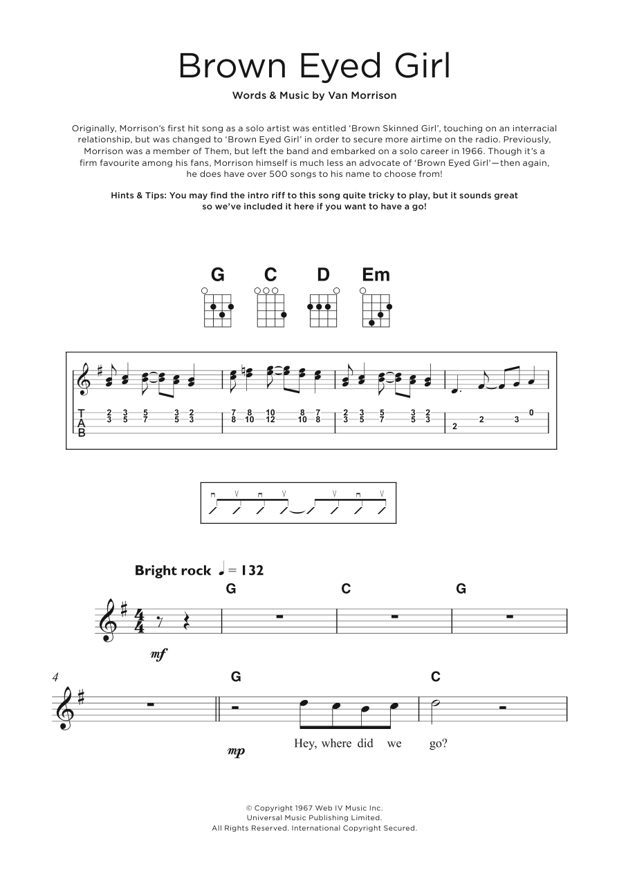 Brown Eyed Girl Chords Sheet Music Digital Files To Print Licensed Van Morrison Digital