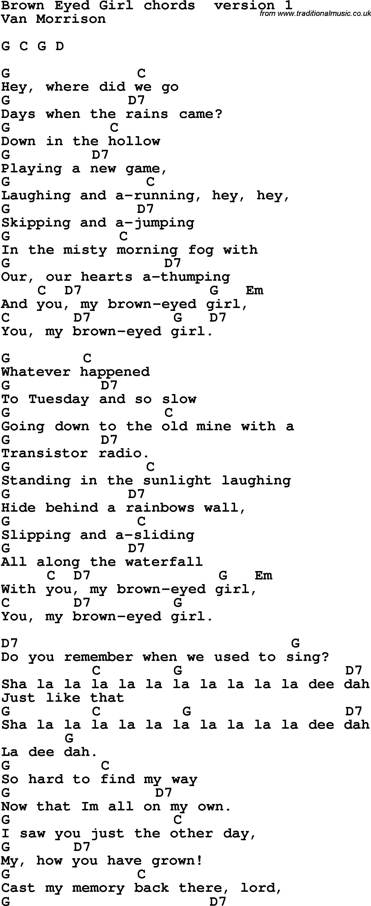 Brown Eyed Girl Chords Song Lyrics With Guitar Chords For Brown Eyed Girl