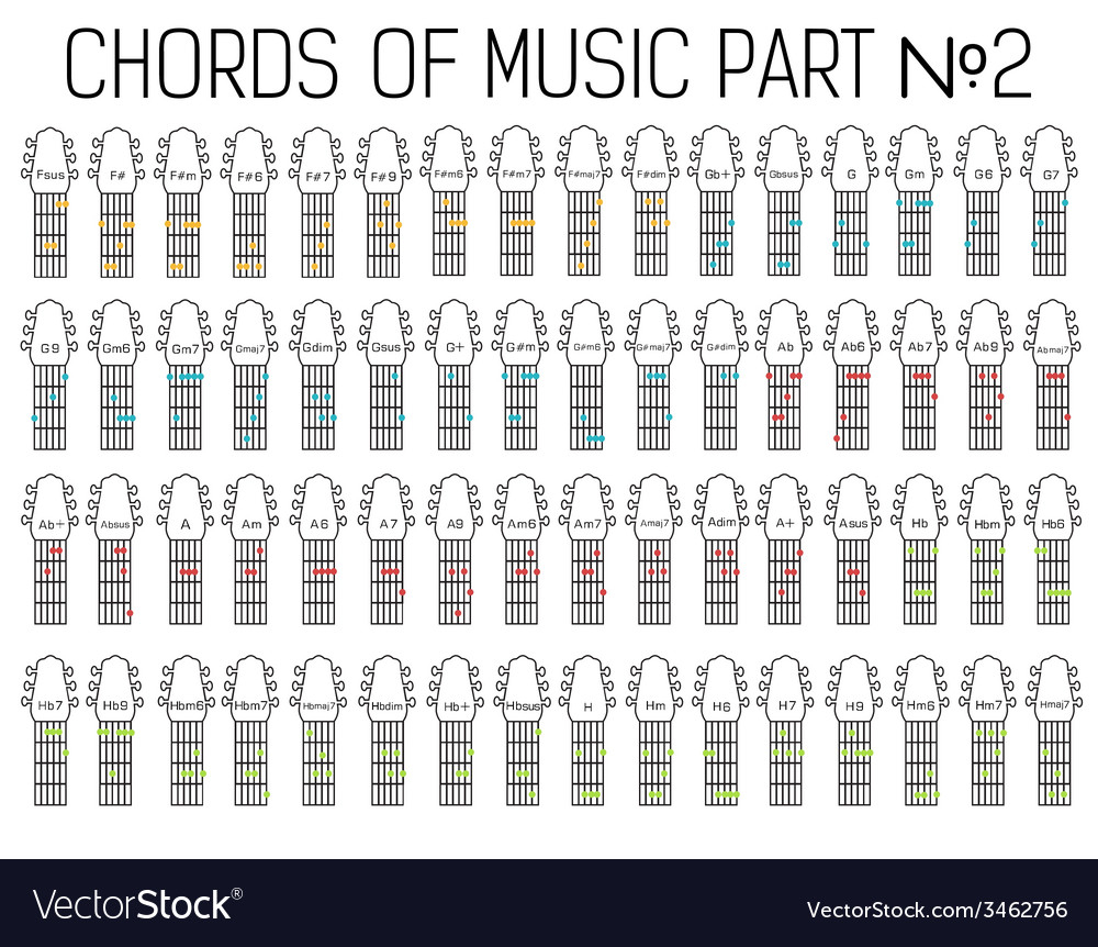 Chords For Guitar Classical Basic Guitar Chords Graphic Of Music Set Vector Image