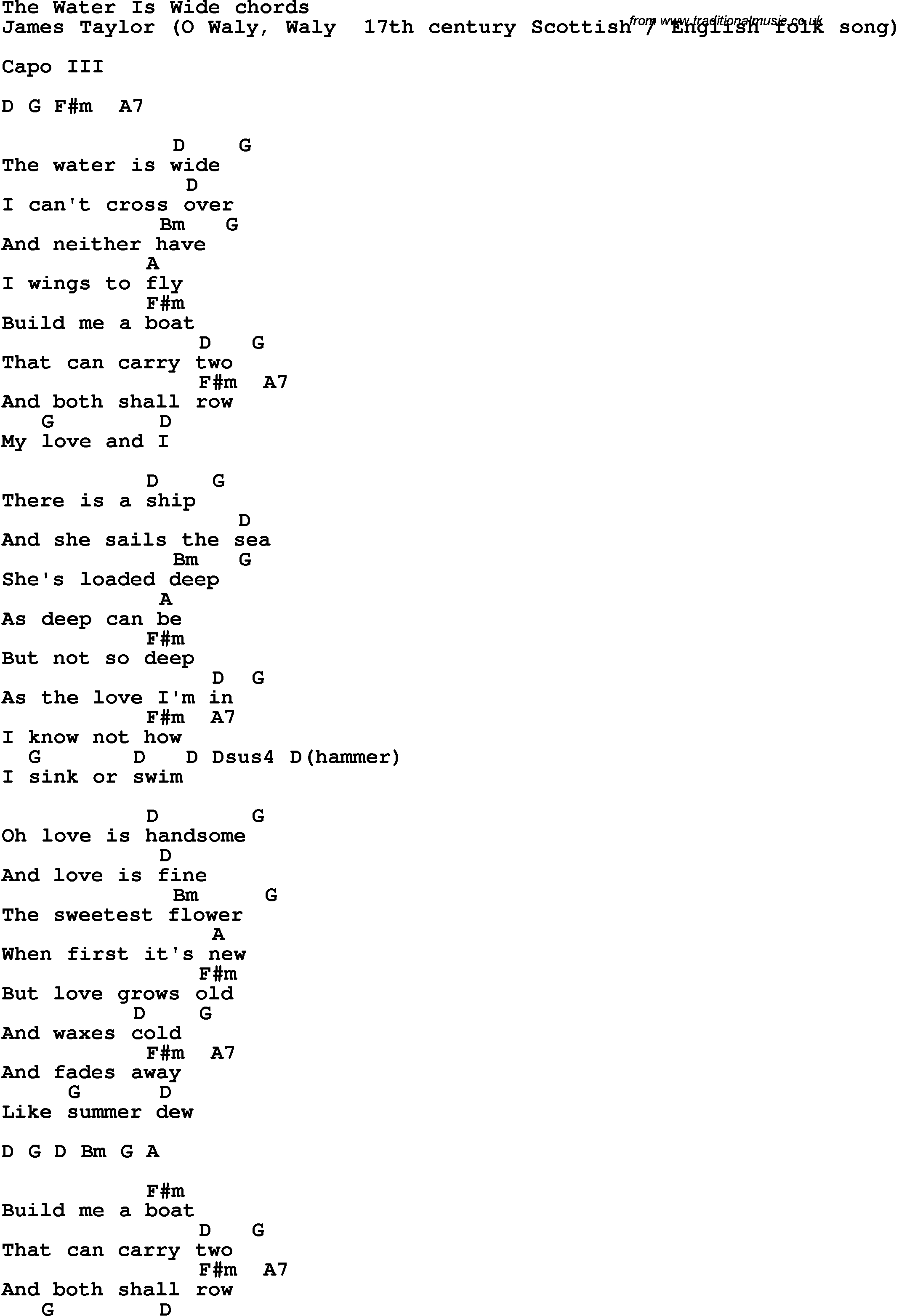 Cold Water Chords Song Lyrics With Guitar Chords For The Water Is Wide James Taylor