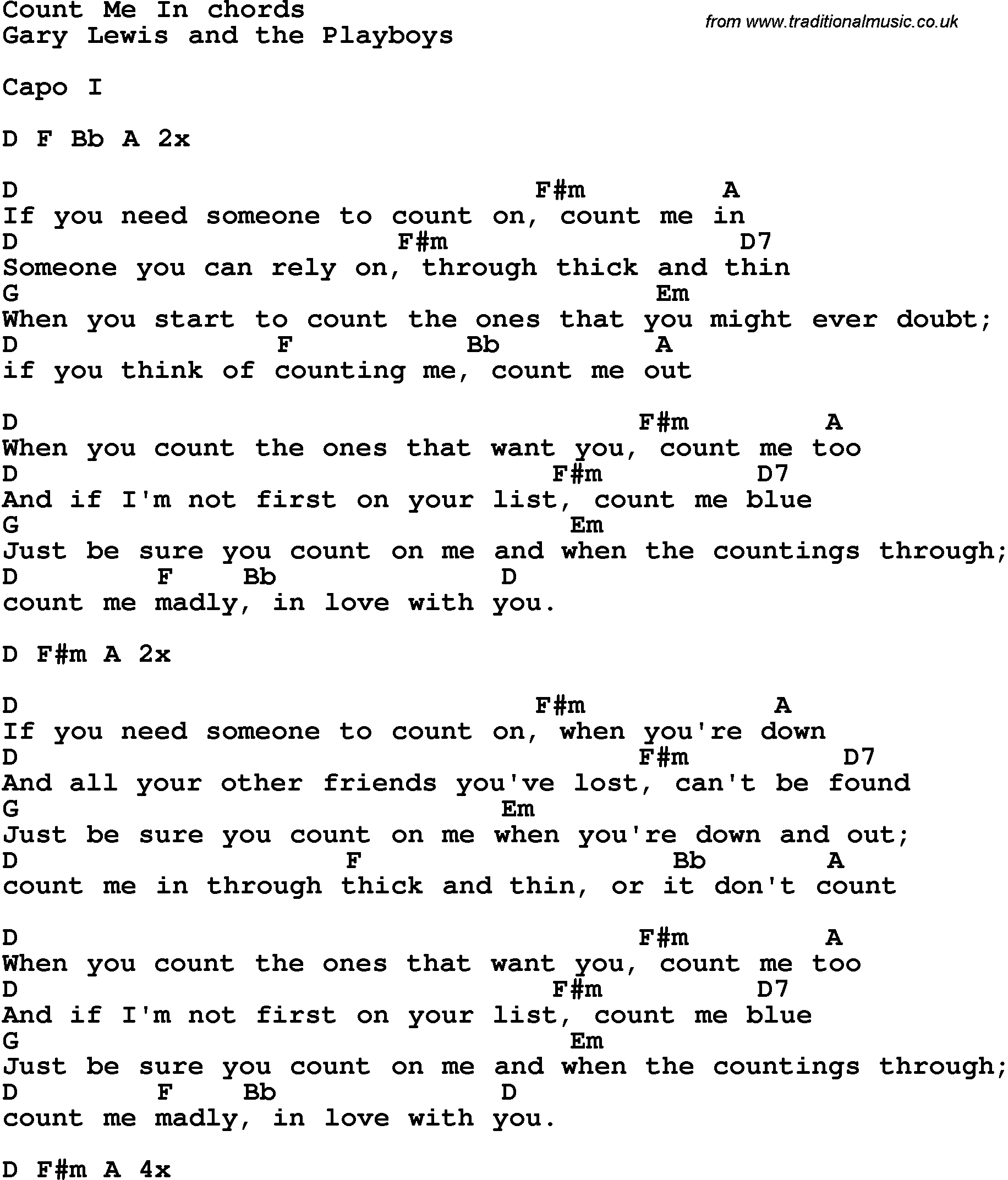 Count On Me Chords Song Lyrics With Guitar Chords For Count Me In