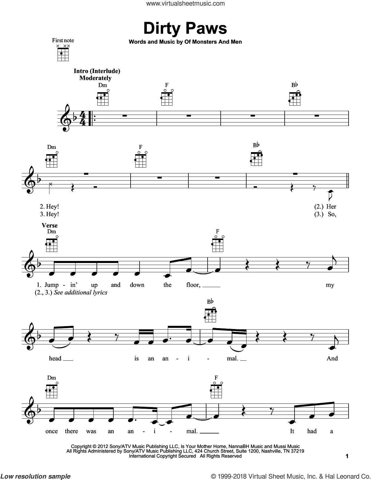Dirty Paws Chords Men Dirty Paws Sheet Music For Ukulele Pdf Interactive