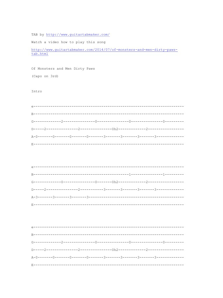 Dirty Paws Chords Of Monsters And Men Dirty Paws Pdf Archive