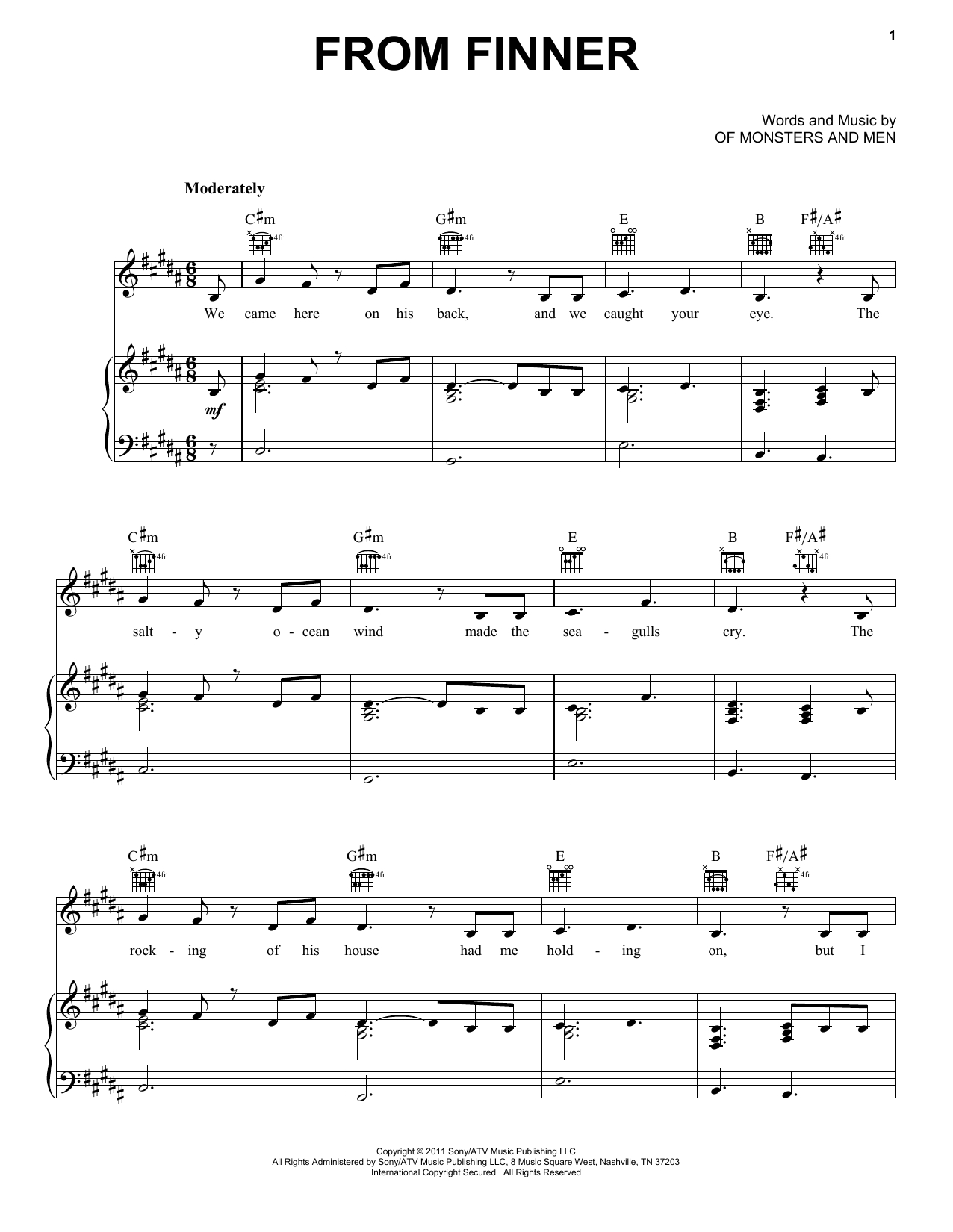 Dirty Paws Chords Sheet Music Digital Files To Print Licensed Of Monsters And Men