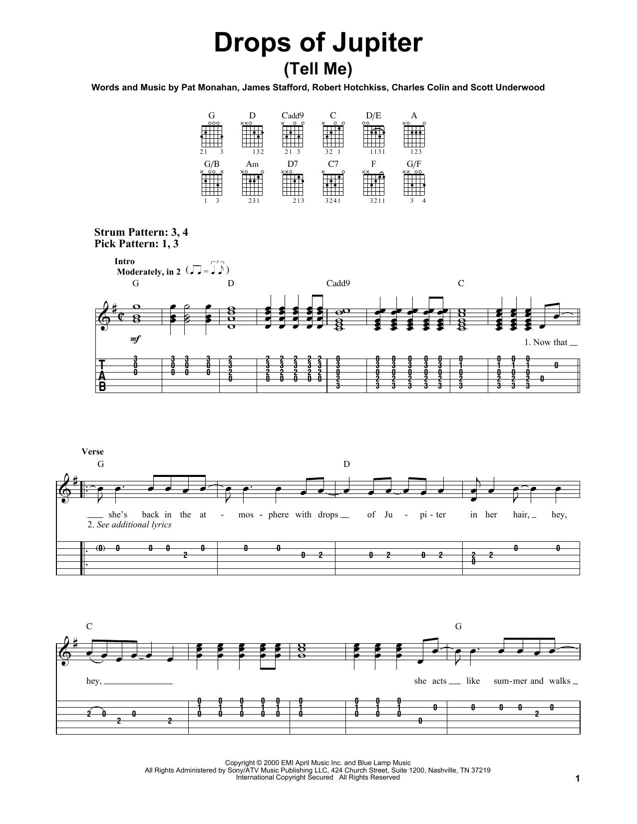 Drops Of Jupiter Chords Drops Of Jupiter Tell Me Train Easy Guitar Tab Guitar