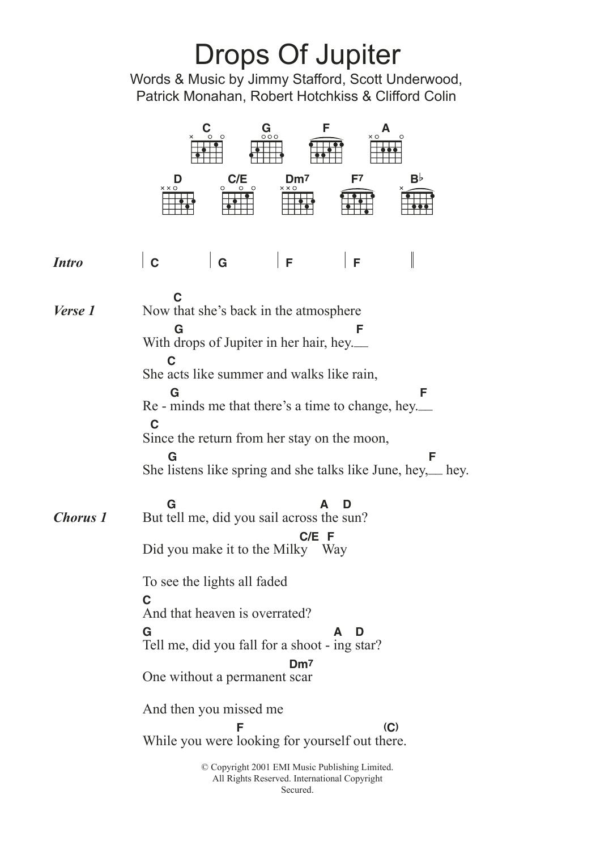 Drops Of Jupiter Chords Drops Of Jupiter Tell Me Train Guitar Chordslyrics Guitar