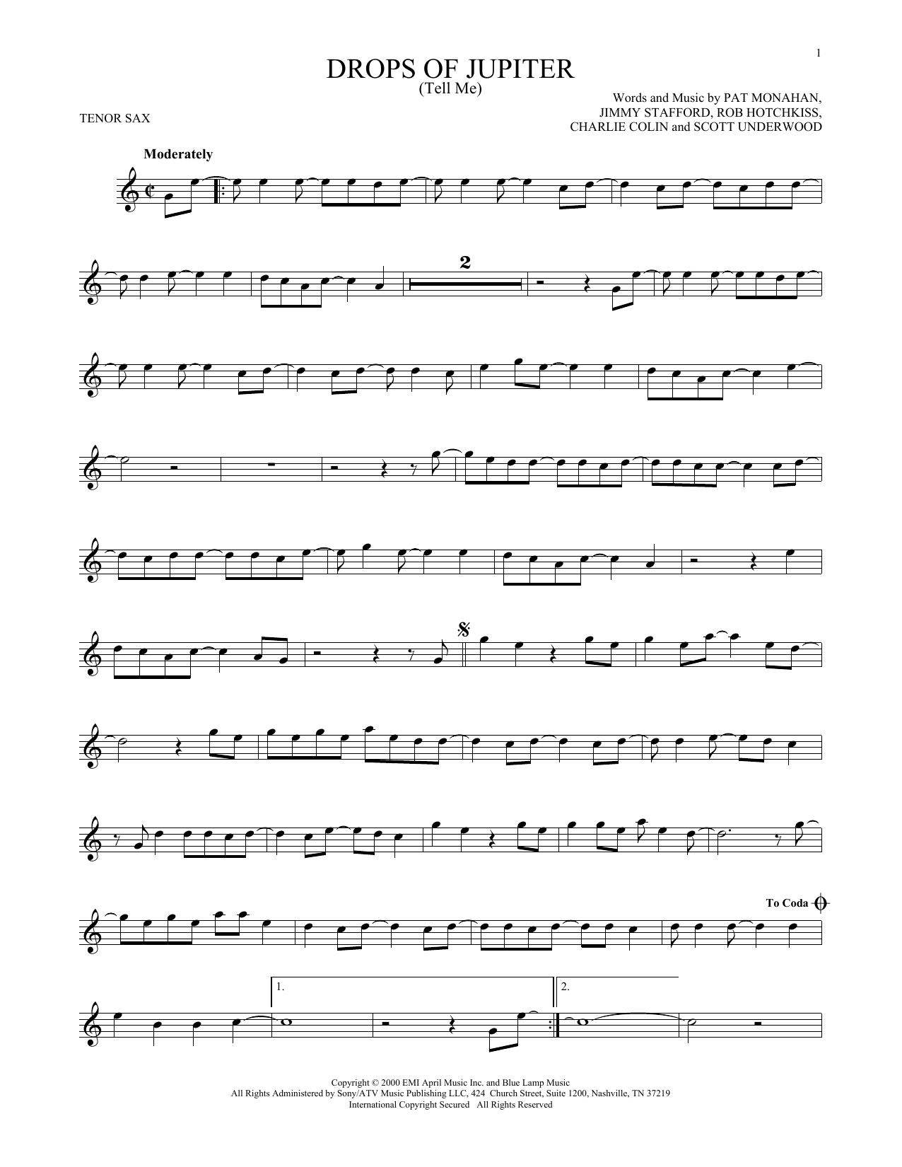 Drops Of Jupiter Chords Sheet Music Digital Files To Print Licensed Scott Underwood
