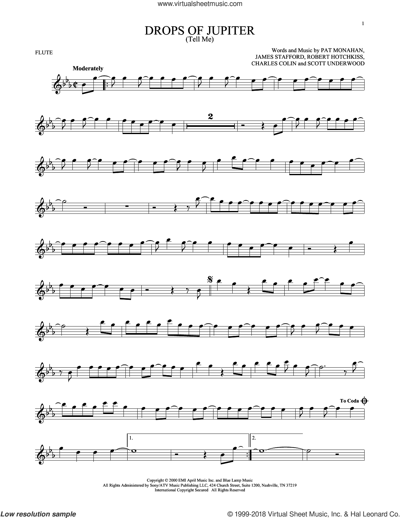 Drops Of Jupiter Chords Train Drops Of Jupiter Tell Me Sheet Music For Flute Solo