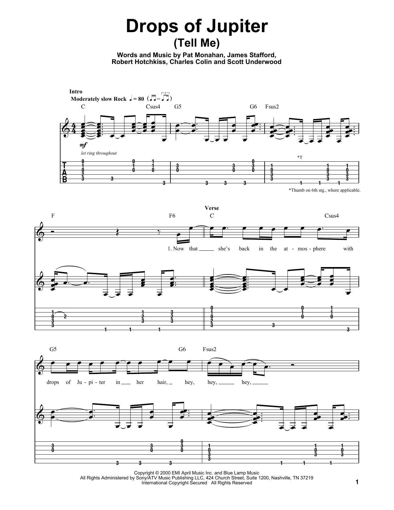Drops Of Jupiter Chords Train Drops Of Jupiter Tell Me Sheet Music Notes Chords Download Printable Guitar Tab Play Along Sku 177314