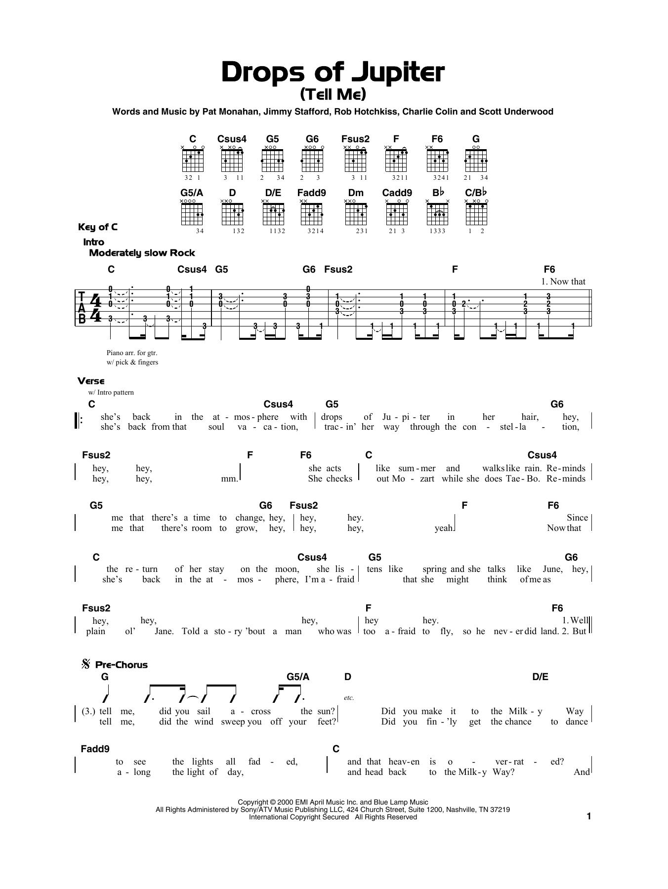Drops Of Jupiter Chords Train Drops Of Jupiter Tell Me Sheet Music Notes Chords Download Printable Really Easy Guitar Sku 415304