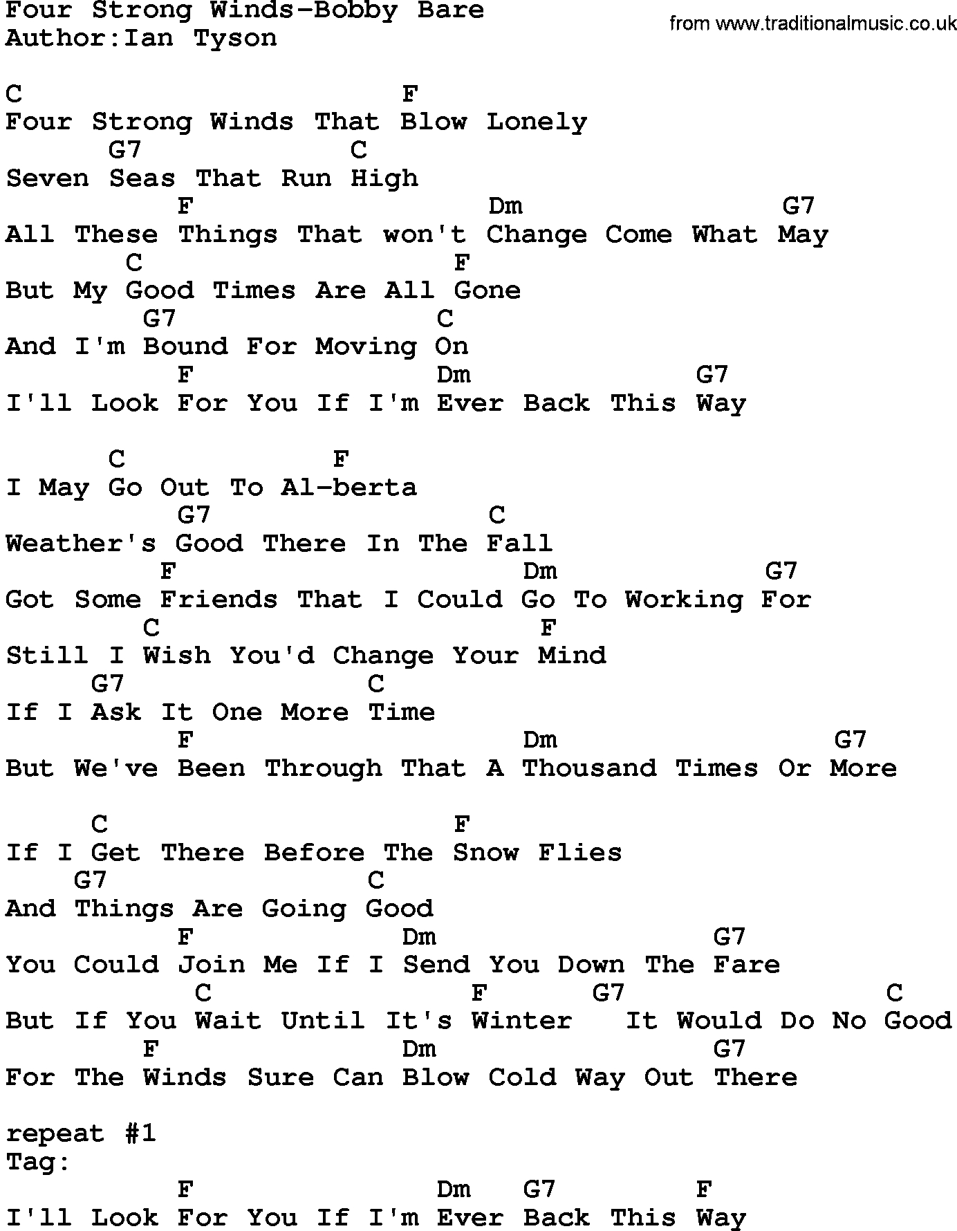Dust In The Wind Chords Country Musicfour Strong Winds Bob Bare Lyrics And Chords