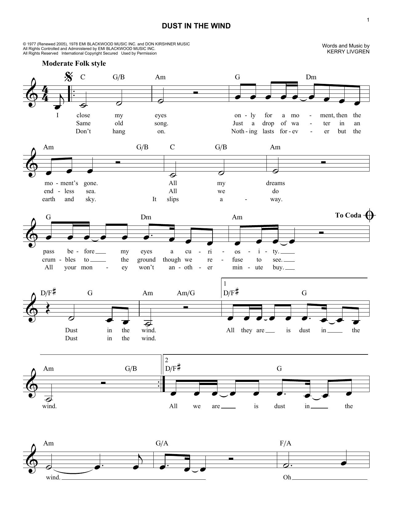 Dust In The Wind Chords Sheet Music Digital Files To Print Licensed Kansas Digital Sheet Music
