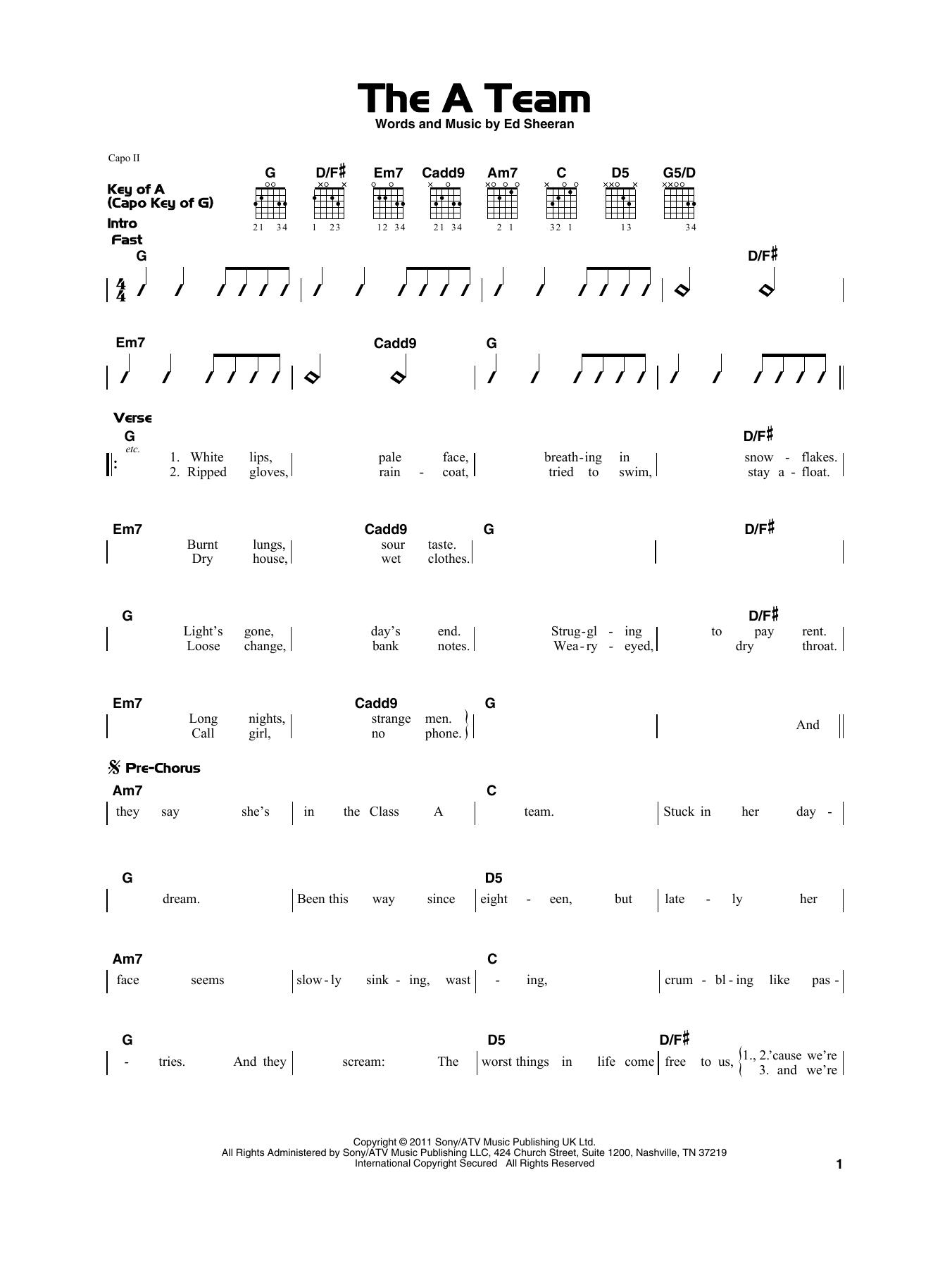 Ed Sheeran Chords Ed Sheeran The A Team Sheet Music Notes Chords Download Printable Really Easy Guitar Sku 415288