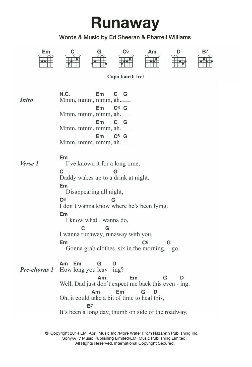 Ed Sheeran Chords Runaway Ed Sheeran Piano Vocal Guitar Right Hand Melody Digital Sheet Music