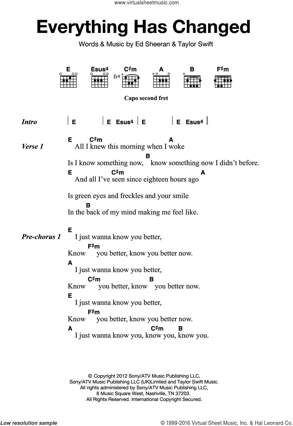 Ed Sheeran Chords Sheeran Everything Has Changed Sheet Music For Guitar Chords
