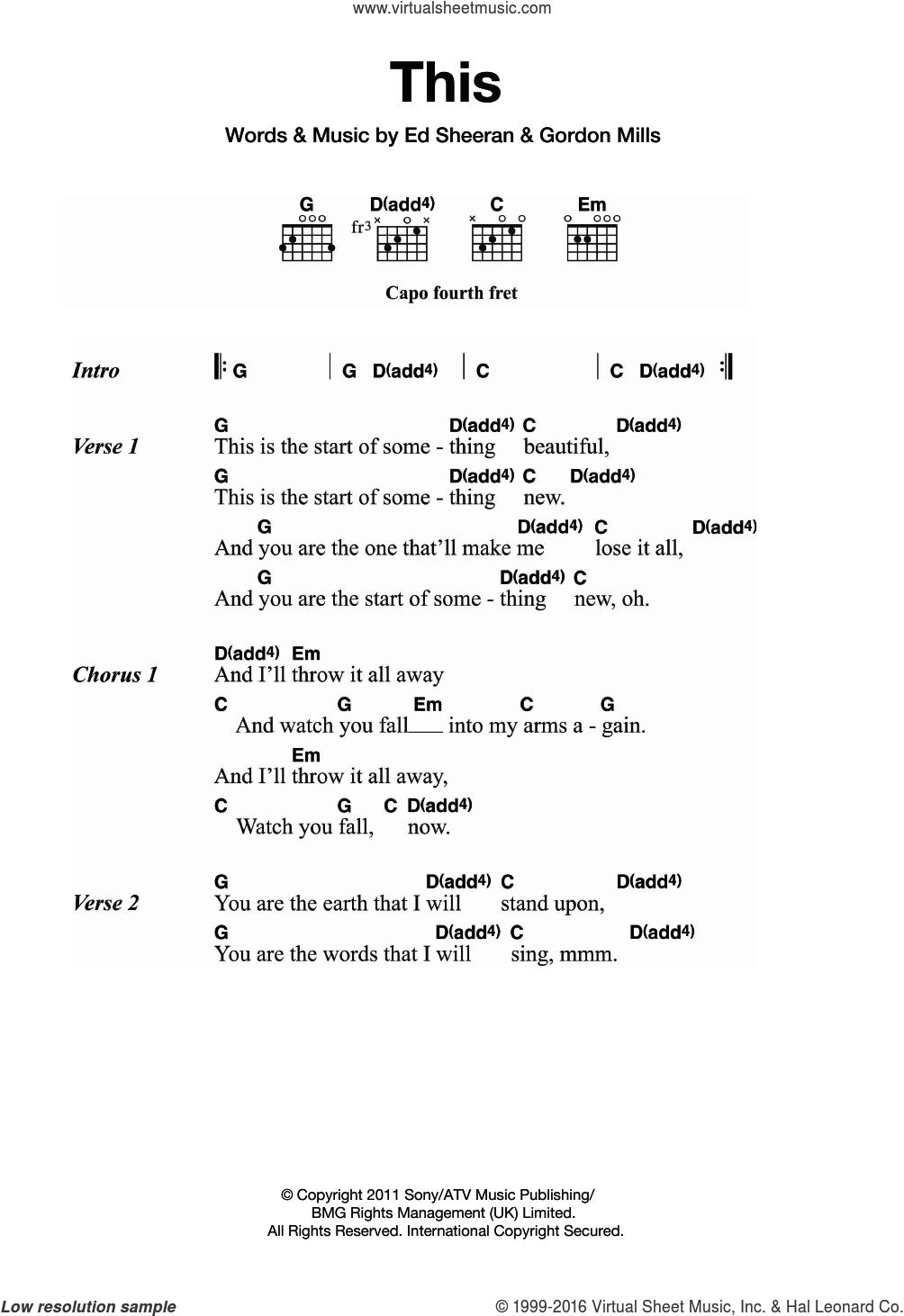 Ed Sheeran Chords Sheeran This Sheet Music For Guitar Chords Pdf