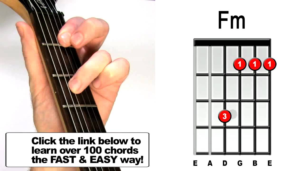 F M Guitar Chord How To Play Fm Guitar Chord Beginners Acoustic Electric Lesson