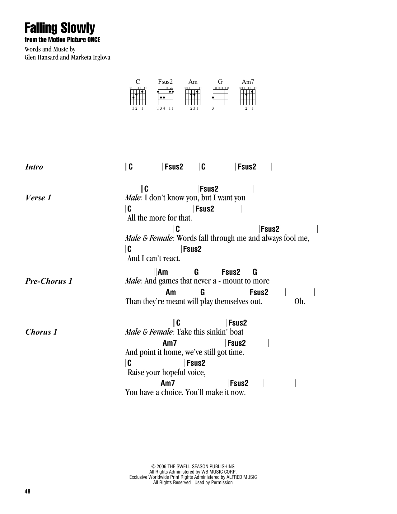 Falling Slowly Chords Falling Slowly Glen Hansard Marketa Irglova Guitar Chords